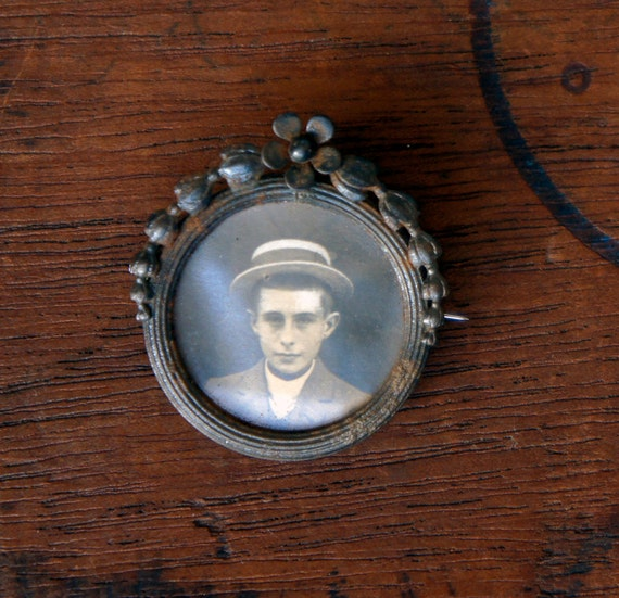 Antique French Picture Brooch Sweet Boy in Boater Hat