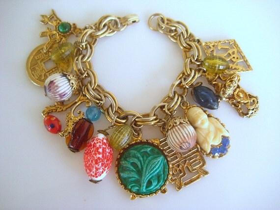 Reserved for JH Vintage Oriental Charm Bracelet