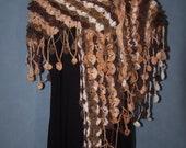 Scale Leaf reversable unique crochet shawl cowl