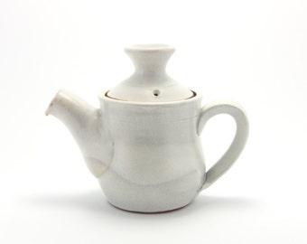Small teapot (white), rustic modern stoneware pottery