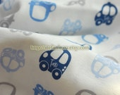 SALE Clearance 1 Yard Kids Boy Transportation Blue and Grey British Style London Bus Taxi- Knit Jersey Cotton Fabric (35.4x59 Inches)