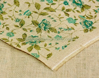 Fall Floral Garden, Choose Your Color - Natural Raw Linen, Sacking Fabric (Fat Quarter, 17x18 Inches)