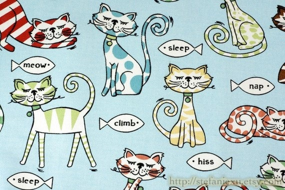 Zoology Collection, A Day Of Cats Family (Sky Blue)-Cotton Canvas Fabric (19x 21.5 Inches, LAST PIECE)
