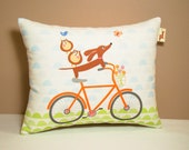 Dachshund Pillow - Doxies and Owl Ride a Bicycle - Dog Home Decor Modern Orange White