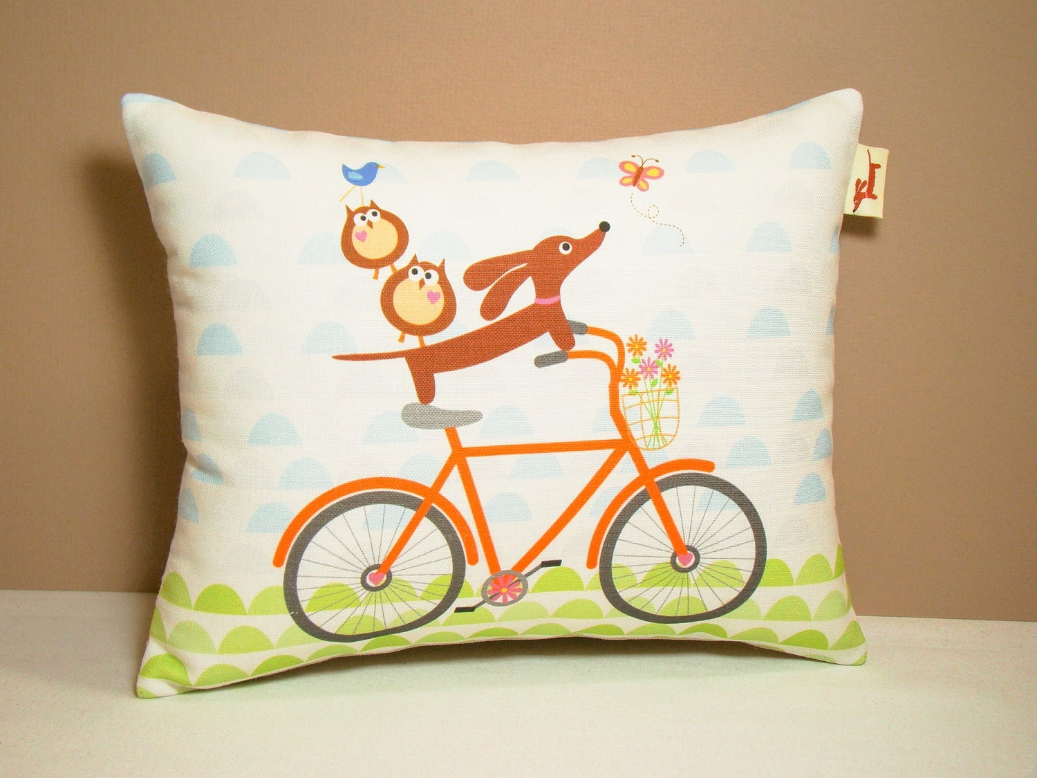Dachshund Home Decor Dachshund Pillow Doxies And Owl Ride A Bicycle Dog Home