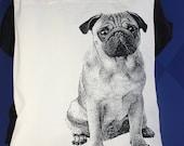 Black Pug Tote Bag, Teacher Gift, Pug, Dog, Tote, Tote Bag, Pug Gift