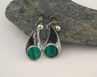 Sterling Silver Teardrop Malachite Screwback or Pierced Earrings
