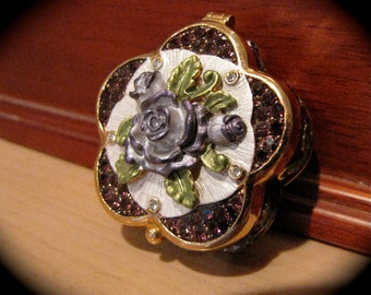 Beautiful  Enameled Floral Pill Box - Swarovski Crystals Pink Rasberries & Mauves What Not Box