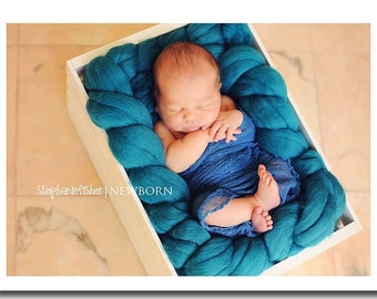 Newborn Photography Wrap - Baby Boy or Baby Girl - Cheesecloth Wrap - Maternity Photo Wrap - Photography Prop - BLUE