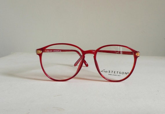 Big Red Frame Glasses : Red Big Round Eye Frames //1980s Berry Goldtone Windsor