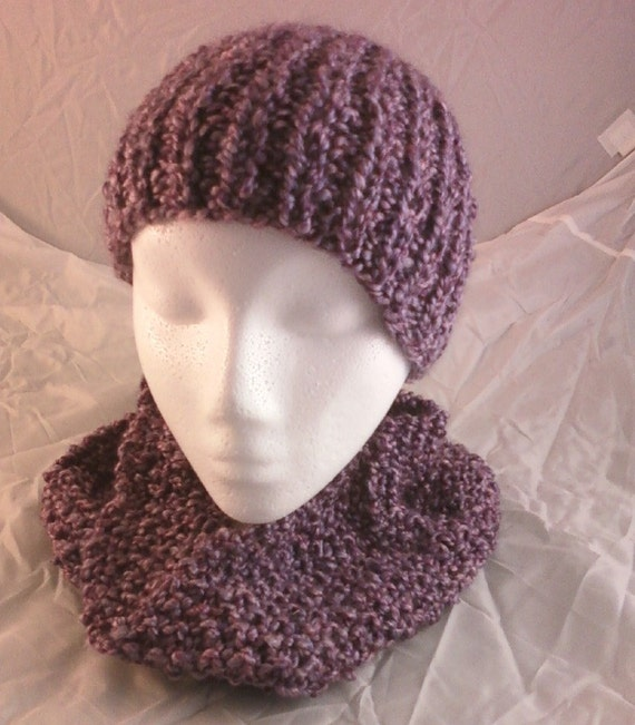 Hand Knit Homespun Hat and Cowl Neckwarmer Baroque Purple