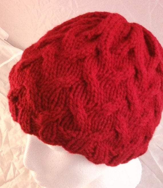 All-Over Cable Knit Hat - Cherry Red