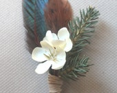 Reserve order: 7 Evergreen and Feather Boutonnieres