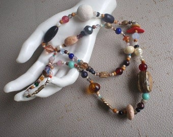 Vintage Necklace Rainbow Beaded End Of The Day Beads for Women
