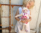 RESERVED Rene  pink rag Handmade Rose Irish linen shabby cabin home decor gift Doll OOAK