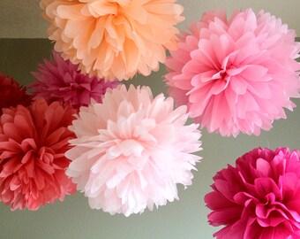 Valentine's Day - 10 Tissue Paper Pom DIY Kit - Blush and Bashful - Portland Original - Feminine Pinkalicious Party