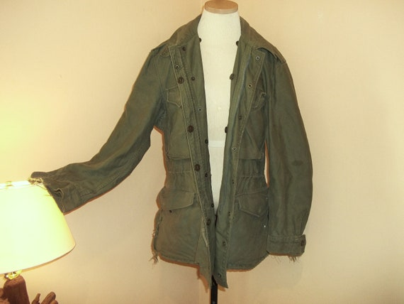 Reserved for Vera Vintage Army Jacket Unisex womens large mens medium Grungy Tattered Worn in Just Right