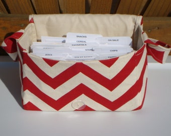 Super Size Coupon Organizer / Budget Organizer Holder Box - Attaches to Your Shopping Cart - Lipstick Red and Natural Zig Zag Chevron