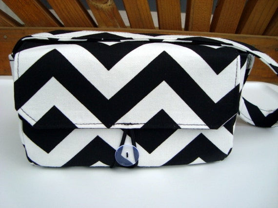 Super Size Coupon Organizer / Budget Organizer Holder Box - Attaches to Your Shopping Cart -  Black and White Chevron