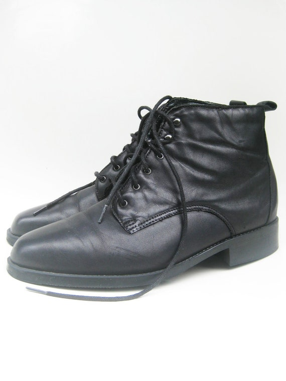 Vintage MIDNIGHT Ankle Boots Booties Womens 10 Genuine LEATHER Indie HIPSTER Classic Retro Grunge 9 Half 12 42