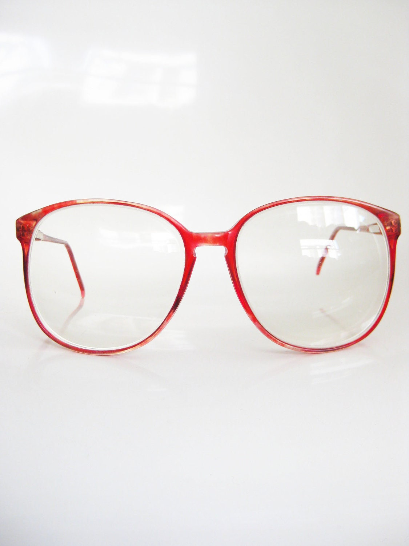 Vintage CHERRY RED Glasses Eyeglasses ROUND 1980s Sunglasses