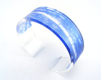 Monaco Blue Lucite Bangle Woodland Blue Pattern Bangle Acrylic Bracelet