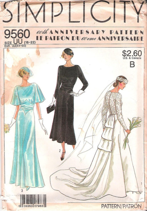 Simplicity 9560 1920s Wedding Dress Sewing Pattern