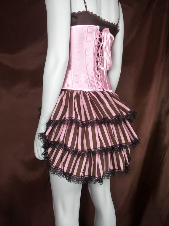 items similar to brown and pink stripe tie on bustle skirt