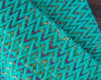 Handwoven Teal, Pink, Green, and Gold Chevron Scarf