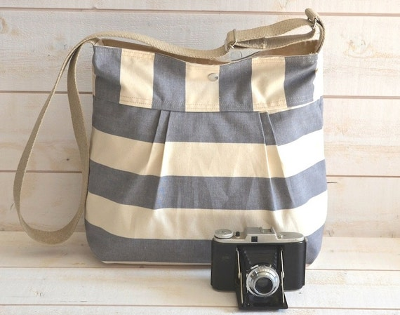 Water Proof -Cross body bag / Diaper bag STOCKHOLM Gray  and Ecru Stripes Pleated French Messenger bag - 10 Pockets