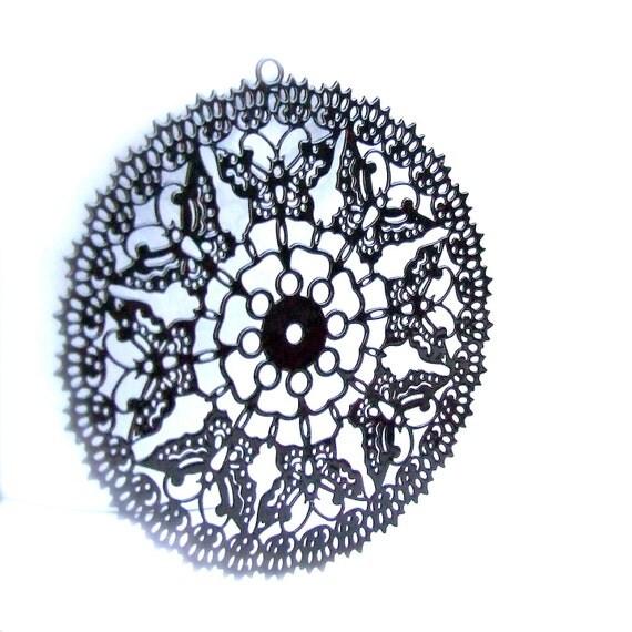 Black Butterfly Filigree Pendant - 1 pc. - 48mm
