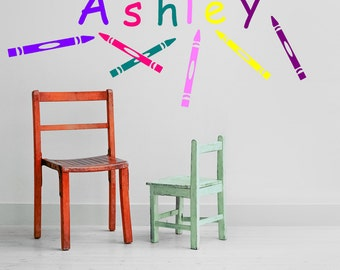 Personalized Name with Crayons Vinyl Wall Decal