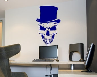 Skull with Top Hat Vinyl Wall Decal