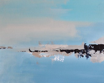 """Frozen lake 10 Original abstract painting Winter landscape 12x16"""""""