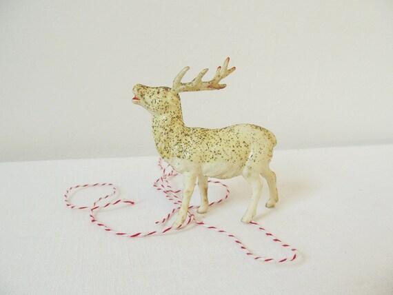 Vintage White Celluloid Glitter Reindeer