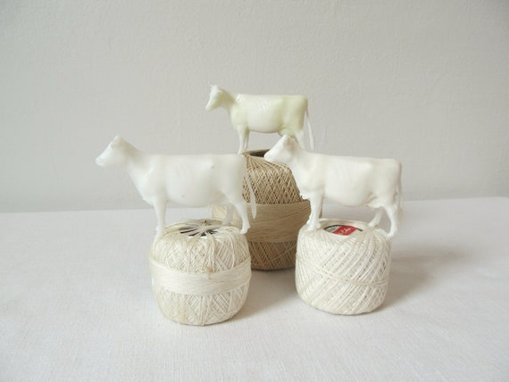 RESERVED-   Vintage White Toy Cows