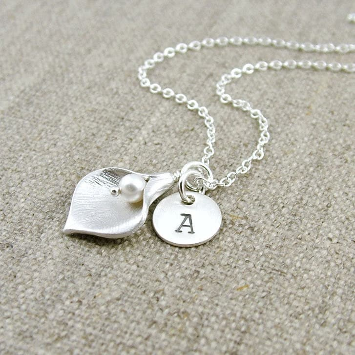 Personalized Calla Lily Necklace Sterling Silver Custom