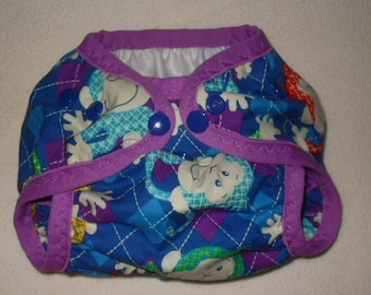Monkey on Argyle one size  AI2 snap diaper
