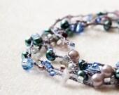 Crocheted versatile necklace / bracelet  - Grey and aqua blue -  wrap bracelet - europeanstreetteam oht rusteam  - free worldwide shipping