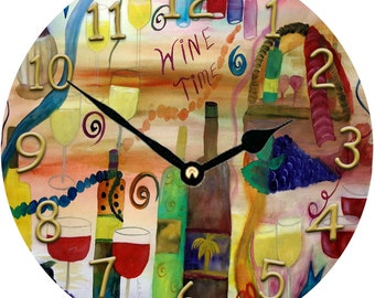 Wine Time art wall clock