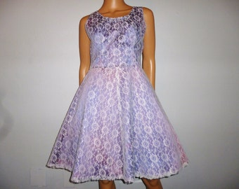 Vintage 1950's - White LACE - over Lavender Satin - Circle - Prom - Pin Up - Bombshell - Dress - bust 36""