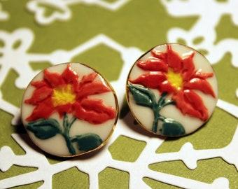 Poinsettia Porcelain Earrings for Christmas Handmade Jewelry