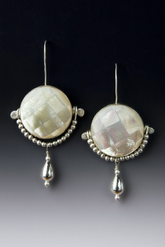 CoCo Sterling silver and mother of pearl earrings, handcrafted jewelry by jewelrybyfrancine on etsy