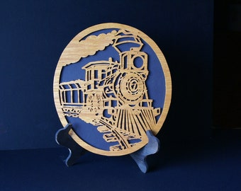 Lucky 7 Train Locomotive Wooden Wall Plaque