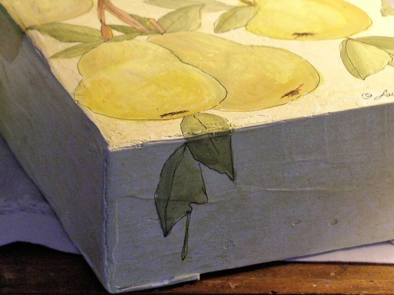 Painted Canvas Panel Mixed Media Pears Sculpted Bird.