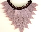 Stone Color Felt Leaves, Unusual Neck Warmer, Collar, Autumn Fashion