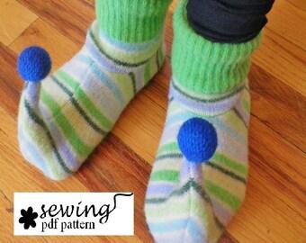 Child Upcycled Elf Slippers PDF Pattern (newborn - child size 13)