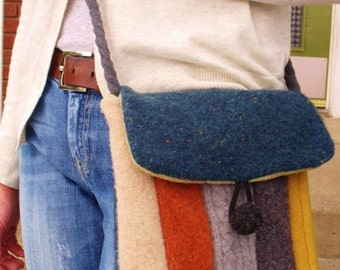 Recycled Wool Sweater Hip Messenger Bag-cross body strap - pdf Pattern