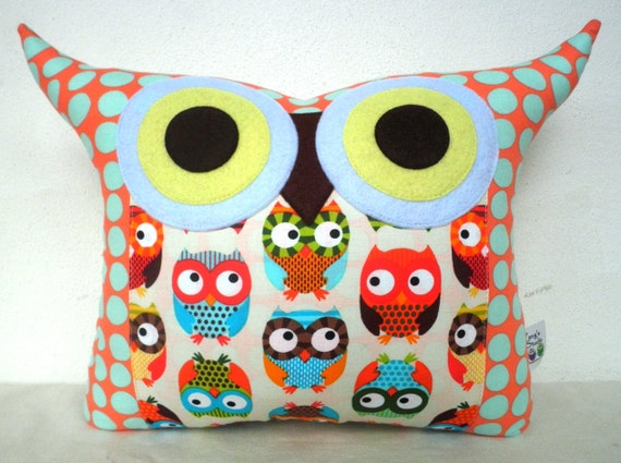 USE COUPON CODE /orange/blue Amy Butlet fabric /owl print Owl family/Ready to ship