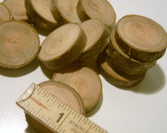 100 Wooden Tree Branch Slices slightly over an inch